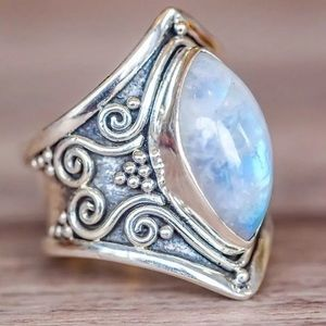Vintage opalite silver plated bohemian ring.